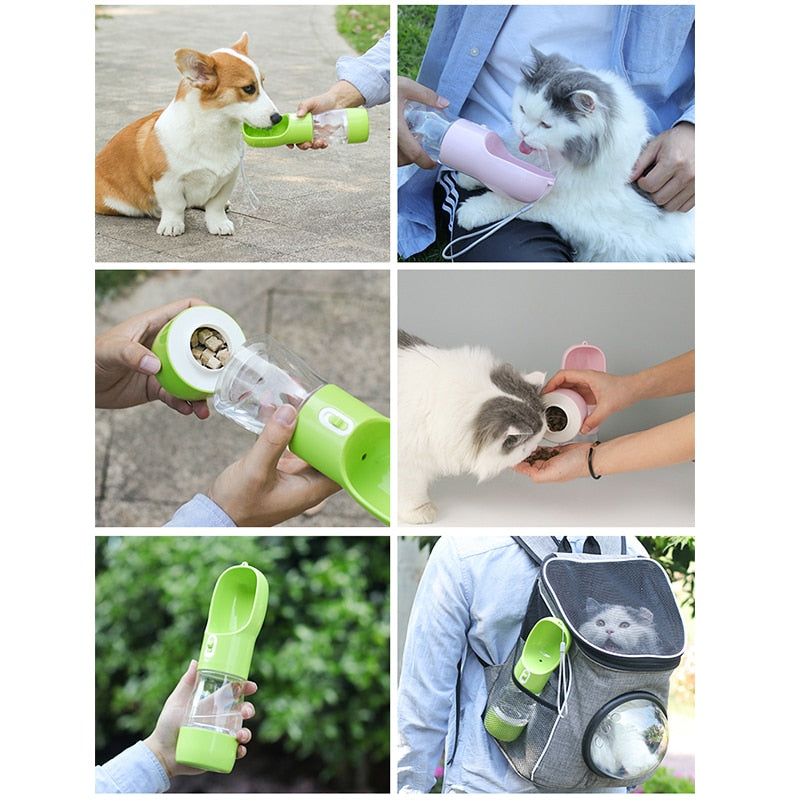 Portable Outdoor Pet Drinking and Feeding Bottle
