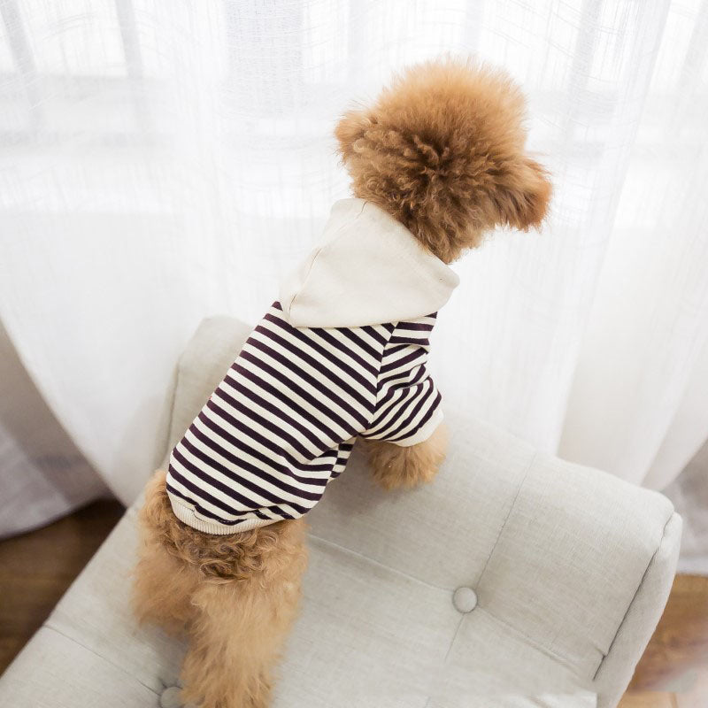 Striped Cotton Dog Hoodie