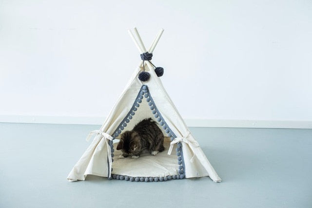 Natural Canvas Cotton Pom Pom Pet Teepee in Cream & Grey