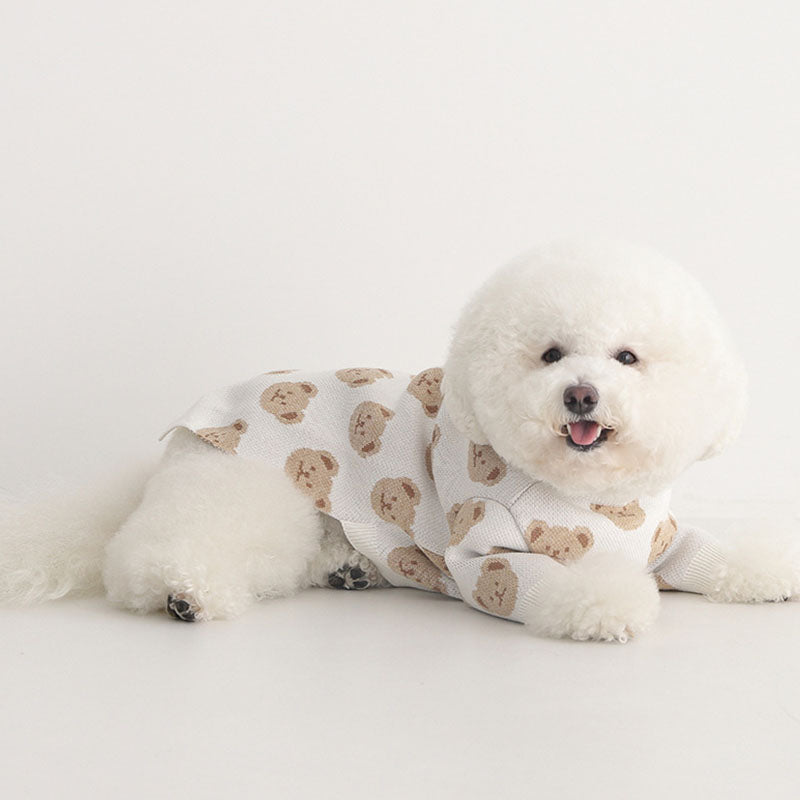 Pup Print Cotton Dog Sweater
