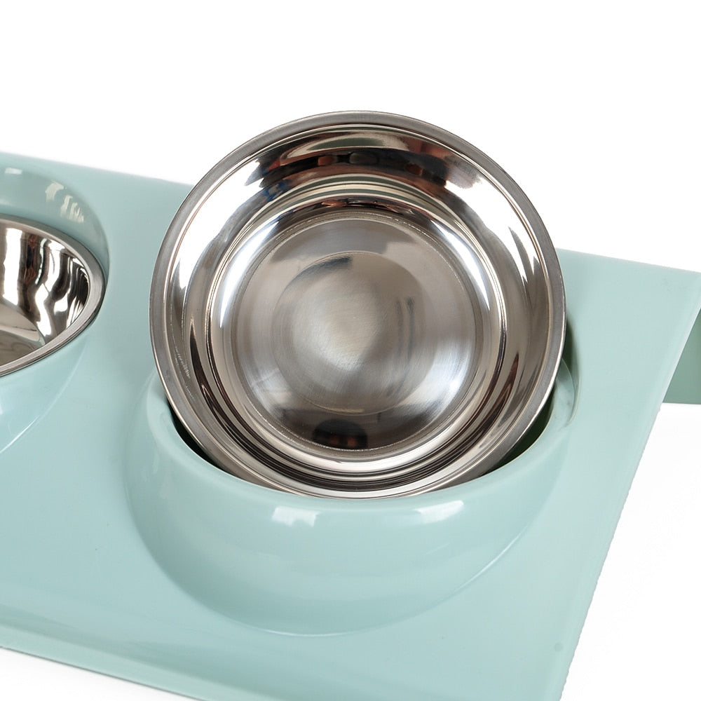 Double Stainless Steel Pet Bowl in Pastel