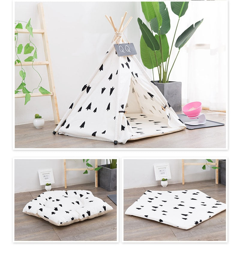 Forest Pet Teepee with Plush Cushion