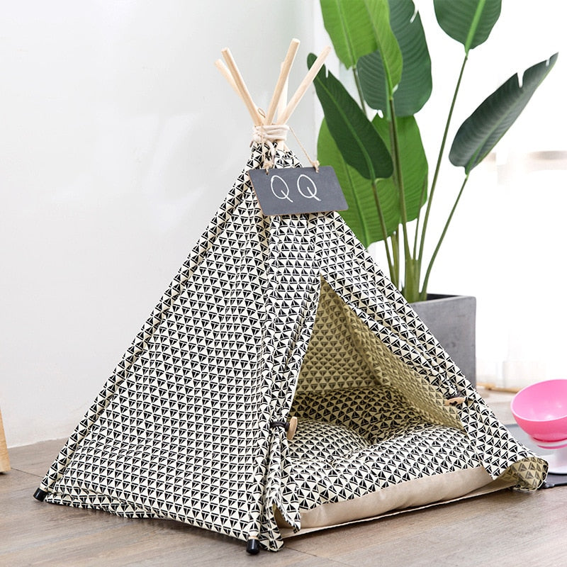 Sailing Print Pet Teepee with Plush Cushion