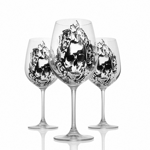 Bordeaux Skull Wine Glass