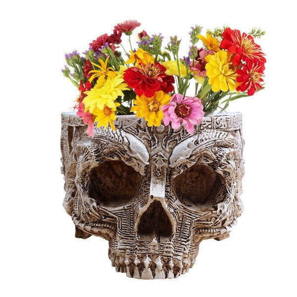 Hand Carved Skull Flower Pot