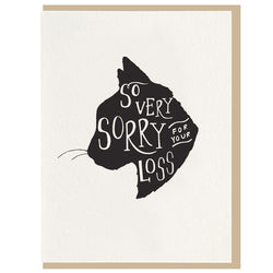 Dahlia Press - So Very Sorry Cat Sympathy - Letterpress Card
