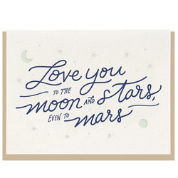 Dahlia Press - Moon & Stars - Letterpress Card