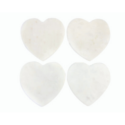 Be Home - White Marble Heart Coaster, Set of 4