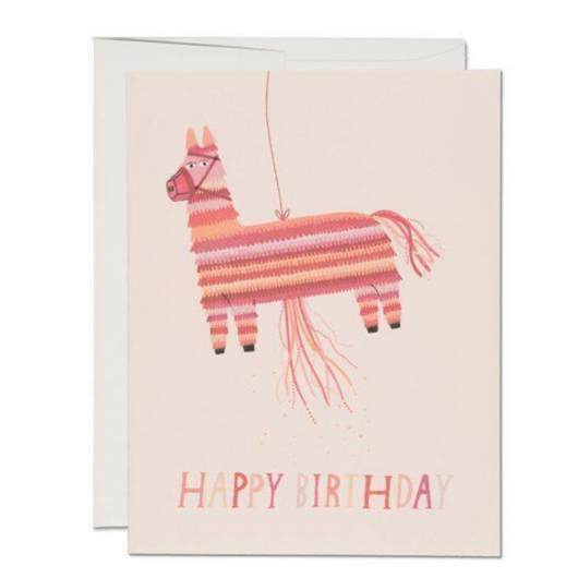 Red Cap Cards - Donkey Piñata Birthday Card