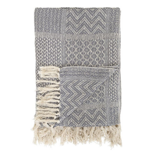 Bloomingville - Cotton Knit Throw w/ Fringe