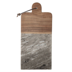 Bloomingville - Marble & Acacia Wood Tray/Cutting Board w/ Leather Tie & Canape Knife