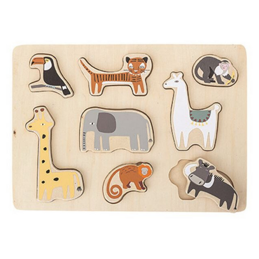 Bloomingville - Wood Puzzle with Animals, Set of 9