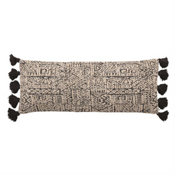 Bloomingville - Woven Cotton Patterned Lumbar Pillow w/ Tassels, Black & Natural