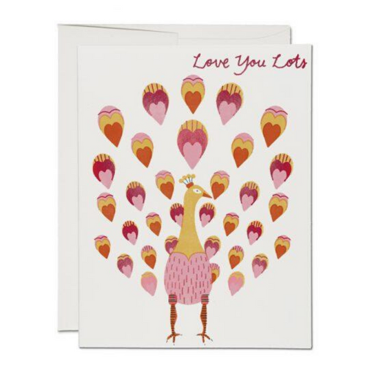 Red Cap Cards - Peacock Feather Love You Card
