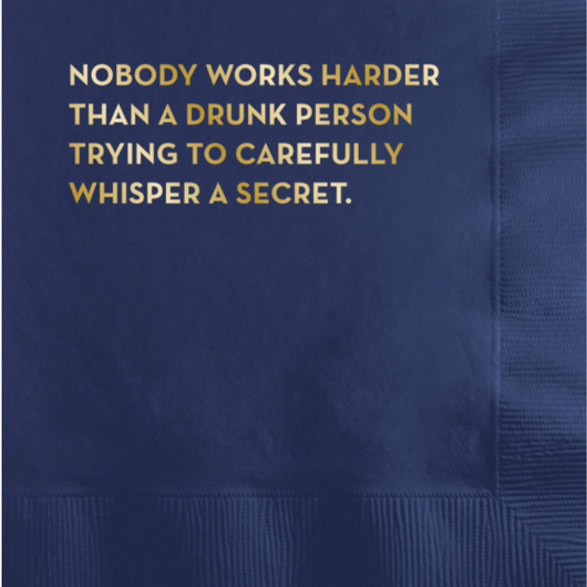 Sapling Press - #594: Drunk Person Napkins (Dark Blue With Gold Foil)