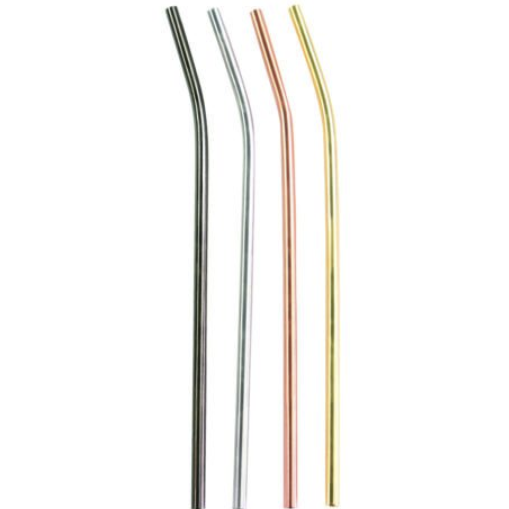 Be Home - Matte Metallic Stainless Bent Straws, Set of 4