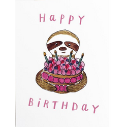 Handzy Shop + Studio - Happy Birthday Sloth Card