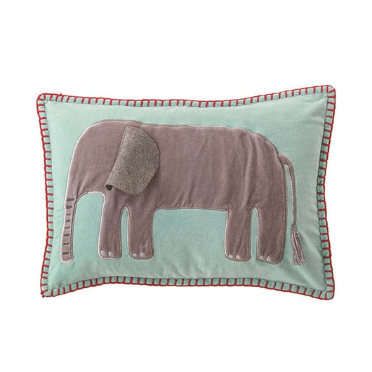 Bloomingville - Cotton Velvet Embroidered & Appliqued Pillow w/ Elephant, Blue