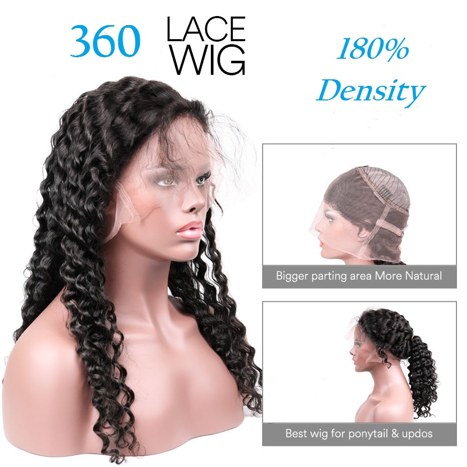 360 lace wig, deep wave