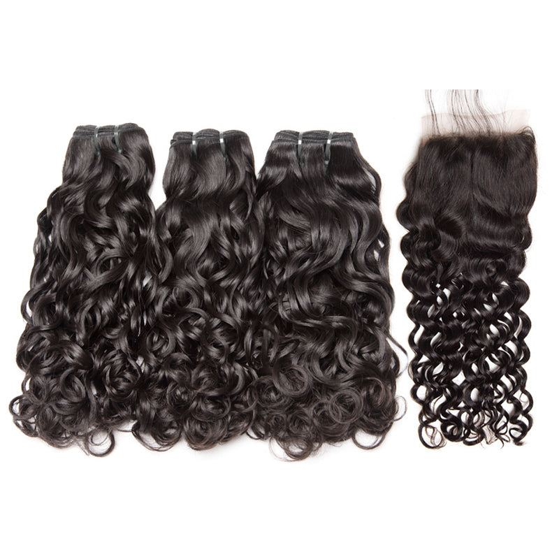 3 Bundles Water Wave Brazilian Virgin Hair with Lace Closure