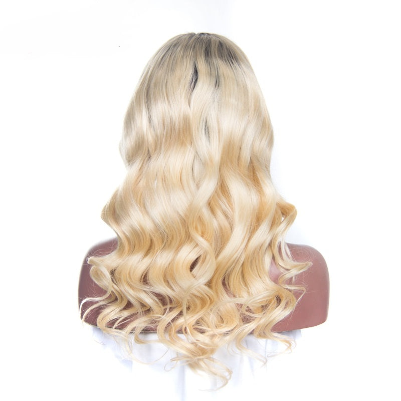 T#1B/613 Blonde with Dark Roots Brazilian Hair Full Lace Wig