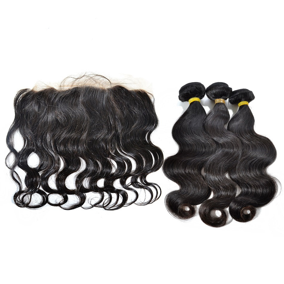 3 Bundles Body Wave Virgin Hair with Lace Frontal