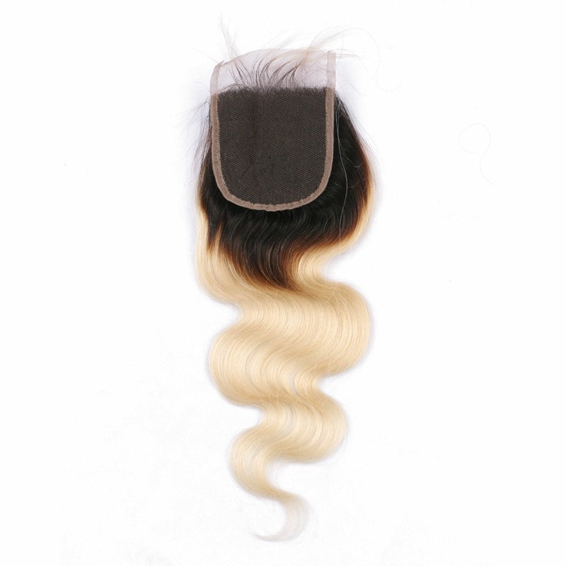 blonde with dark roots body wave lace closure