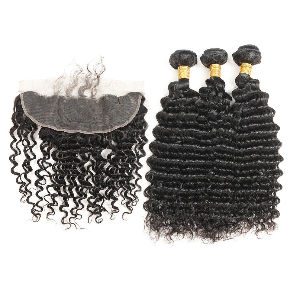 3 Bundles Deep Wave Virgin Hair with Lace Frontal