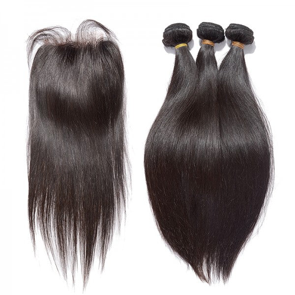 3 Bundles Straight Brazilian Virgin Hair with Lace Closure