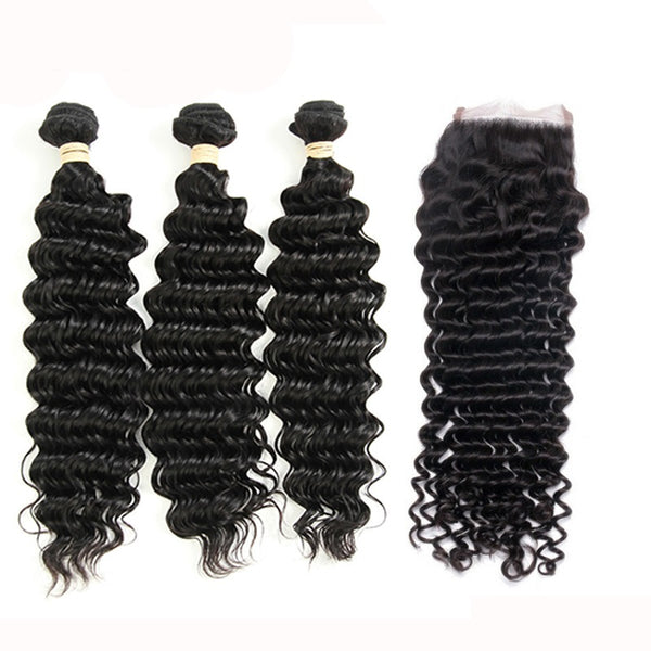 3 Bundles Deep Wave Brazilian Virgin Hair with Lace Closure