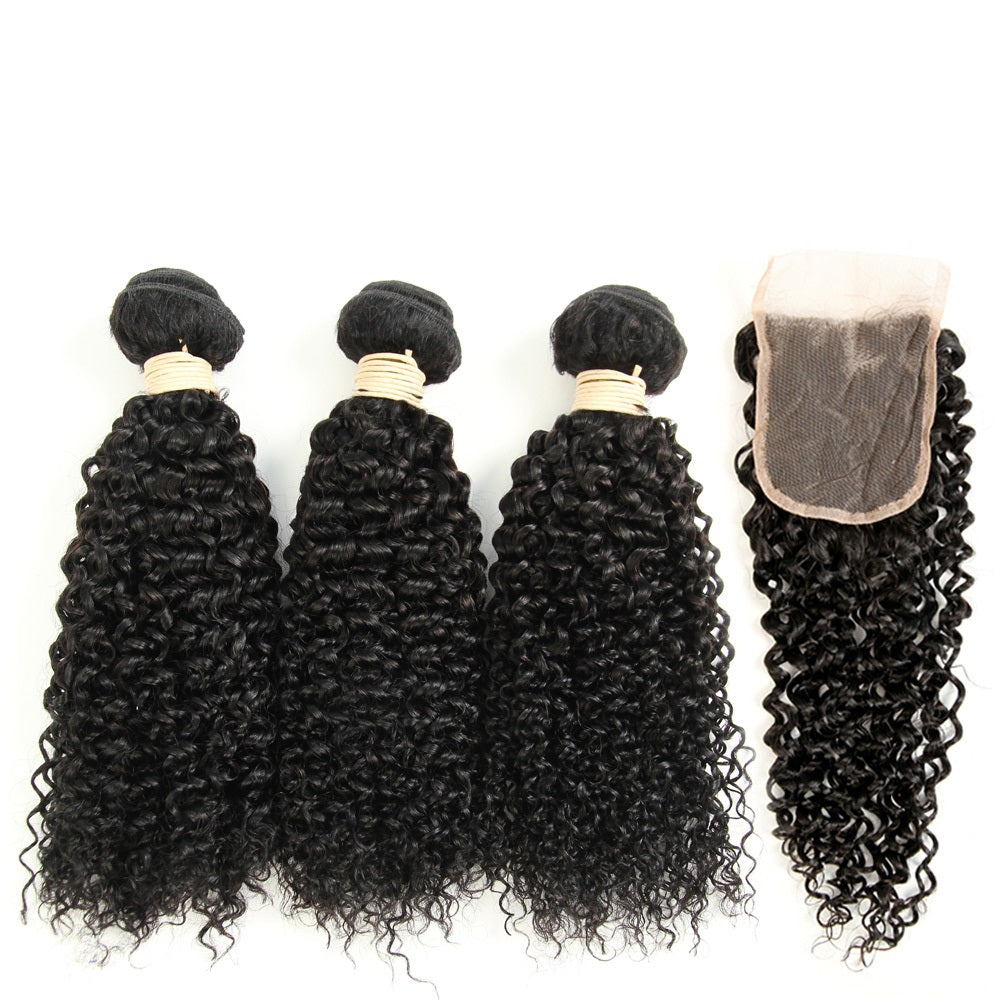 3 Bundles Kinky Curly Malaysian Virgin Hair with Lace Closure