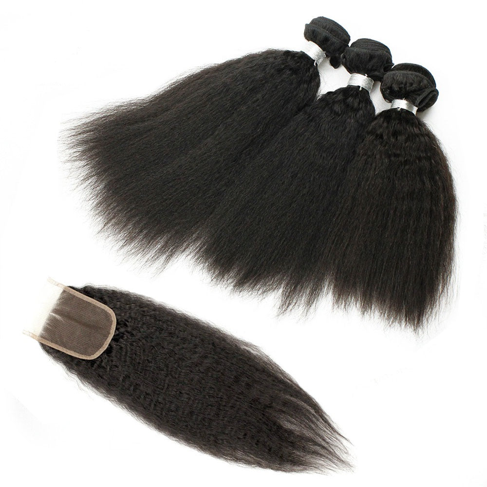 3 Bundles Kinky Straight Virgin Hair with Lace Closure