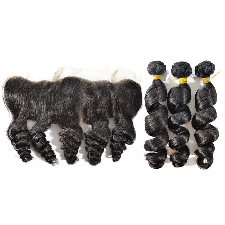 3 Bundles Loose Wave Virgin Hair with Lace Frontal