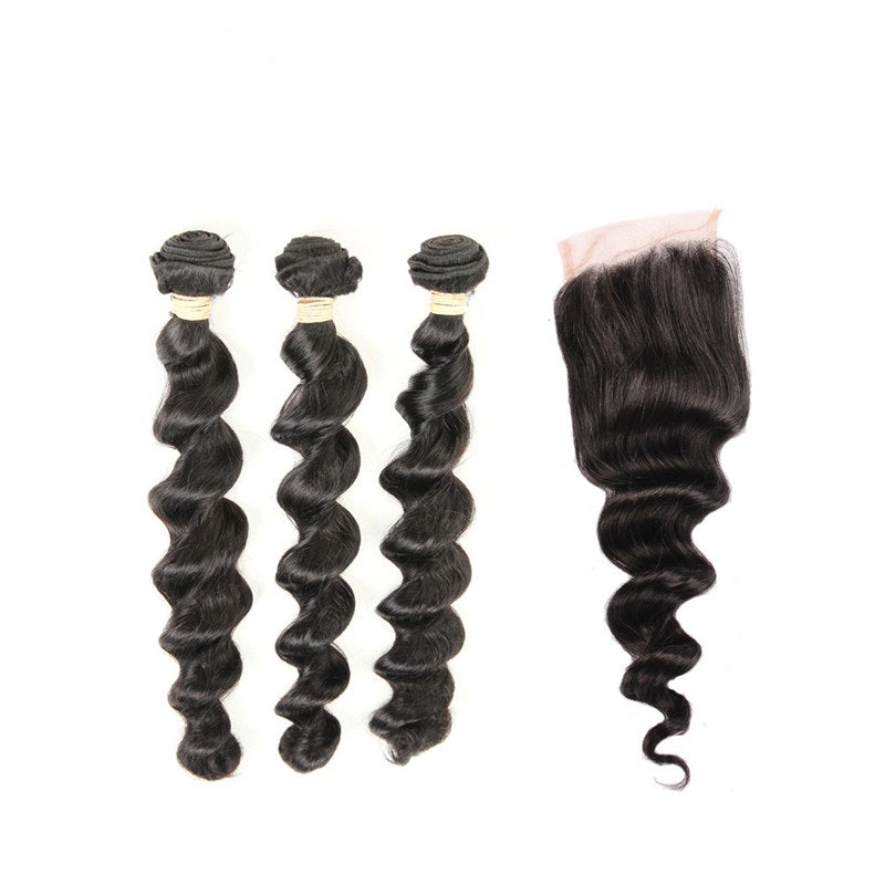 3 Bundles Loose Wave Brazilian Virgin Hair with Lace Closure