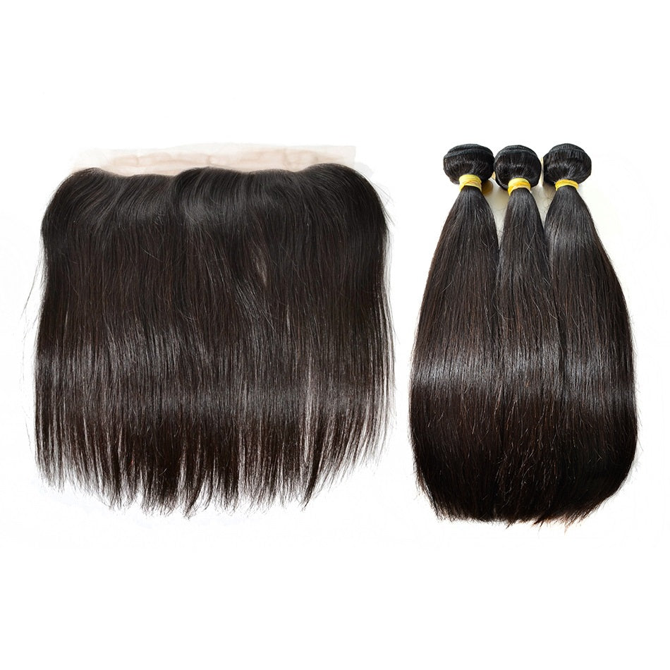 3 Bundles Straight Virgin Hair with Lace Frontal