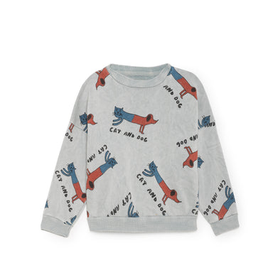 Cat and Dogs Sweatshirt Blå - Str. 92-134 - Bobo Choses - OrganicFootsteps