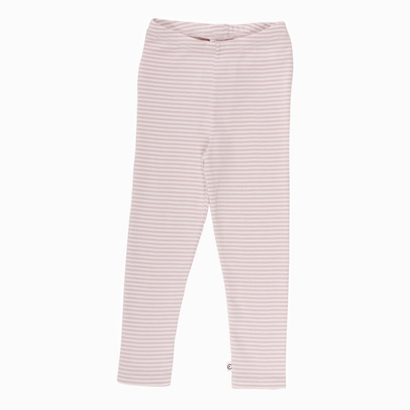 Stribet Basis Cozy Leggings Rosa - Müsli - OrganicFootsteps