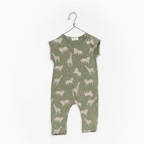 Jersey Jumpsuit - Zoo - Grøn - Play Up - OrganicFootsteps