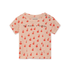 Apple Short Sleeve T-Shirt - Bobo Choses - Str. 62-98 - Sart rosa og rød - OrganicFootsteps