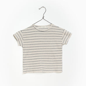 Striped Jersey T-Shirt - Grå/Creme - Play Up - Økologisk - OrganicFootsteps