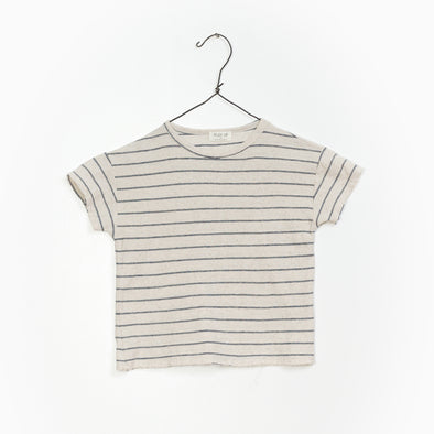 Striped Jersey T-Shirt - Grå/Creme - Play Up - Økologisk