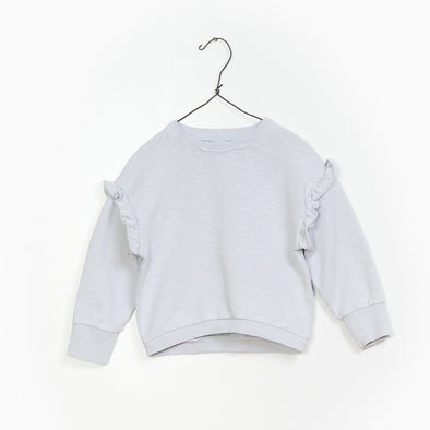 Flamé Fleece Sweater - Blå/ Grå - Str. 3-10 år - Play Up - OrganicFootsteps