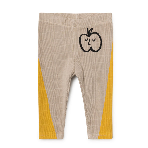 Apple Leggings - Bobo Choses - Str. 62-98 - Gul og Beige - OrganicFootsteps