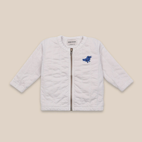 Bird Quilted Zipped Sweatshirt - Cardigan - Hvid - Bobo Choses