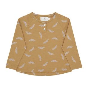 Langærmet T-shirt - Moustache Print - Goldbrown - Monsieur Mini