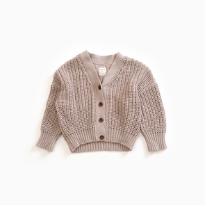 Bomuld Strik Cardigan - Junior - Sand - Play Up - OrganicFootsteps