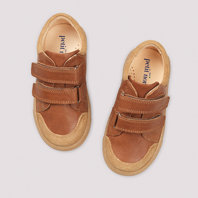 Low Sneakers - Cognac - Velcro Sneakers - PetitNord