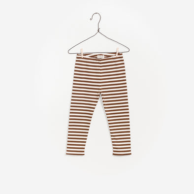 Stribet Leggings - Brun Hvid Stribet - Play Up - OrganicFootsteps