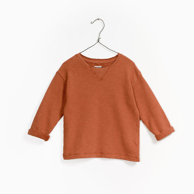 Fleece Sweater - Rust - Play Up - OrganicFootsteps