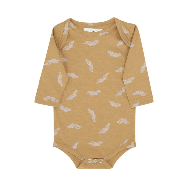 Body - Moustache Print - Gylden Brun - Monsieur Mini
